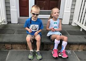 Hope Pardee's twins, Joseph and Hannah, on their first day of school in 2019.