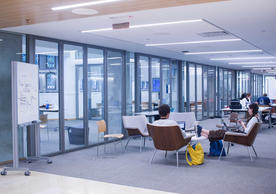 Students studying in the Poorvu Center
