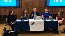 Janni Lehrer-Stein '78, Sarah Poggi '96 MD, Jim Conroy '70, Sarah Scott Chang, and Paige Lawrence '21Members of the Yale community, led by alumni, recently convened on campus to engage in a candid and substantive dialogue on disability, equity, inclusion at Yale and in the United States, in observance of National Disability Awareness Month.  Hosted by the Yale Alumni Association and co-sponsored by two university partners – the Yale Office of Diversity and Inclusion, and DiversAbility at Yale – the forum wa