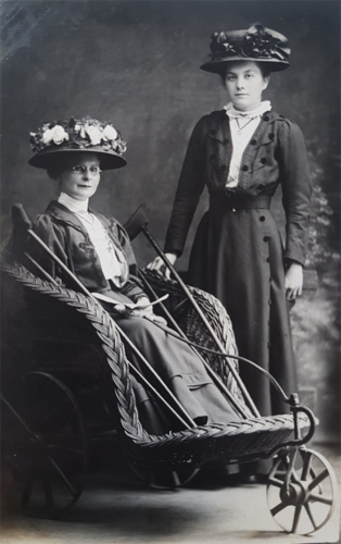 Assorted photographs of women in wheelchairs accompanied by other people, from the Robert Bogdan Disability Collection MS Col 61, Book 1: Wheelchairs.